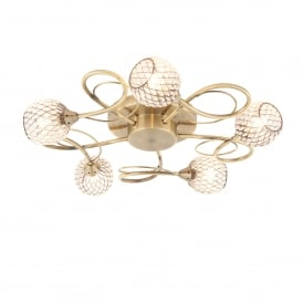 Aherne 5 Light Ceiling Fitting in Antique Brass Finish