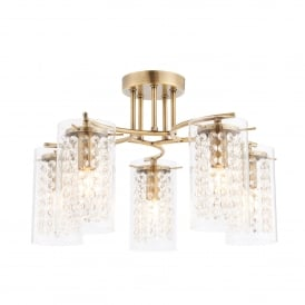 Alda 5 Light Ceiling Fitting in Antique Brass Finish