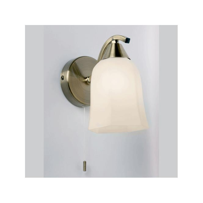 Endon lighting alonso antique brass single switched wall light with alonso antique brass single switched wall light with opal glass aloadofball Gallery