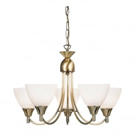 Alton 5 Light Ceiling Fitting In Antique Brass Finish