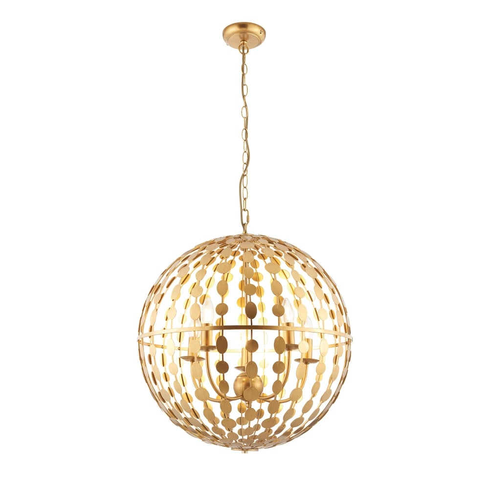 All White With Gold Leaf Ceiling And Degournay Coco: Endon Lighting Alvah 5 Light Ceiling Pendant With Gold