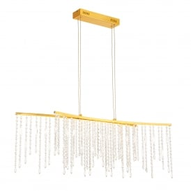 Amelia 2 LED Ceiling Bar Pendant in Satin Gold and Clear Crystal Glass