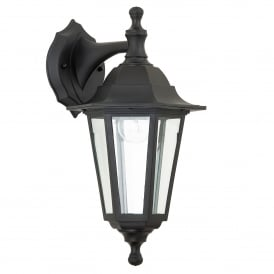 Bayswater Single Light Upwards/Downwards Outdoor Wall Fitting in Black Finish with Clear Glass