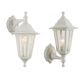 Bayswater Single Light Upwards/Downwards Outdoor Wall Fitting in White Finish with Clear Glass