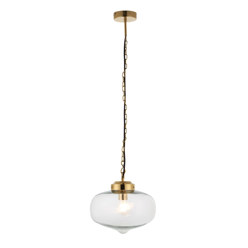 Endon lighting beckinsale single light ceiling pendant in - Clear glass ceiling light ...