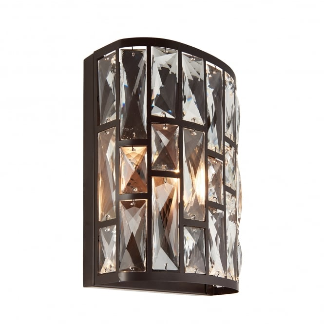 Endon Lighting Belle Single Light Wall Fitting in Dark Bronze and Clear Crystal Glass - Lighting ...