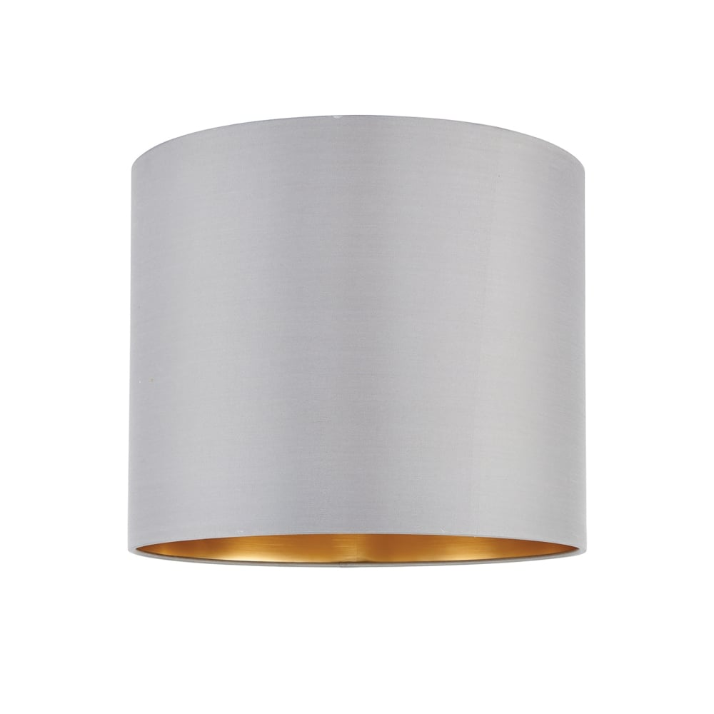 Endon Lighting Boutique 12 Inch Slate Grey Silk Shade With A Brushed Gold Effect Inner ...
