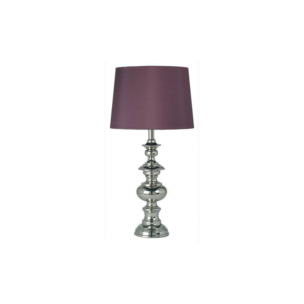 Deco De Table Bretonne endon lighting breton single light table lamp in nickel finish with  aubergine shade