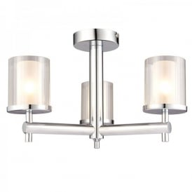 Britton 3 Light Semi Flush Bathroom Ceiling Fitting In Polished Chrome Finish With Frosted Glass Shade