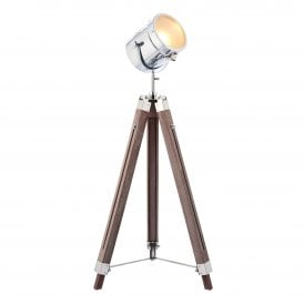 Broadway Single Light Floor Lamp in Polished Chrome Plate Finish