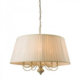 Chester 5 Light Ceiling Pendant In Cream And Gold Painted Finish With Off White Faux Silk Shade