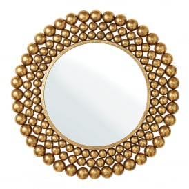 Clayton Round Decorative Mirror in Antiqued Gold Leaf Effect Finish
