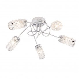 Colby 5 Light Semi Flush Bathroom Ceiling Fitting In Polished Chrome Finish With Clear Glass Beaded Shade