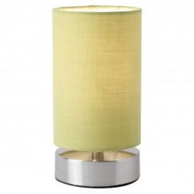 Colliers Single Light Touch Operated Table Lamp In Satin Nickel Finish With Green Shade