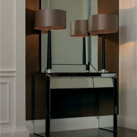 Corvina Single Table Lamp With Polished Chrome And Wood Effect Finish