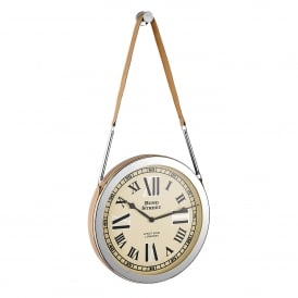 Cusak Large Hanging Wall Clock in Polished Nickel and Tan Leather Strap