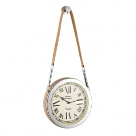 Cusak Small Hanging Wall Clock in Polished Nickel with Tan Leather Strap
