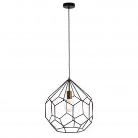 Deco Single Light Ceiling Pendant in Black and Satin Gold Finish