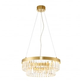 Elise Single LED Ring Pendant in Brushed Gold and Clear Crystal Glass