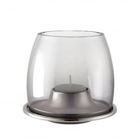 Ellison Tealight Holder in Polished Aluminium and Black Lustre Glass