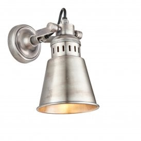 Elms Single Light Wall Fitting in Tarnished Silver Finish