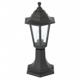 Enluce Single Light 6 Sided Outdoor Post Lantern In Black Finish