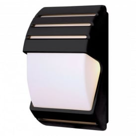 Enluce Twin Light Dusk-Dawn Low Energy Outdoor Wall Fitting In Black Finish With White Diffuser