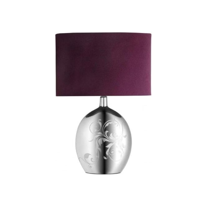 Endon Lighting Fabiola Single Light Table Lamp with Silver Effect Finish