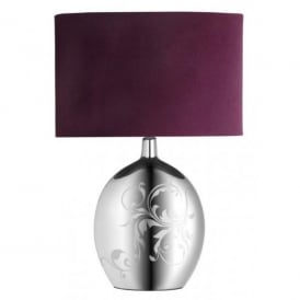 Fabiola Single Light Table Lamp with Silver Effect Finish