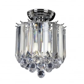 Fargo 2 Light Semi Flush Ceiling Fitting in Chrome Plated Finish and Clear Acrylic