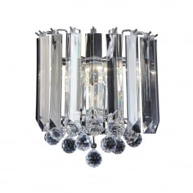Fargo 2 Light Wall Fitting in Chrome Plated Finish and Clear Acrylic