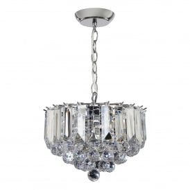 Fargo 3 Light Small Ceiling Pendant in Chrome Plated Finish and Clear Acrylic