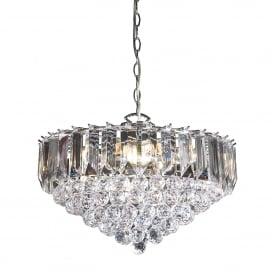 Fargo 6 Light Ceiling Pendant in Chrome Plated Finish and Clear Acrylic