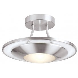 Firenz Single Light Halogen Semi-flush Ceiling Fitting In Satin Chrome