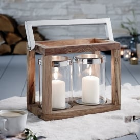Foley Twin Candle Lantern In Wood, Polished Chrome And Clear Glass Finish