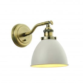 Franklin Single Light Wall Fitting in Antique Brass Finish with Satin Taupe Shade