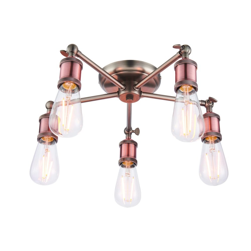the best attitude 6ceee 46c0e Hal 5 Light Semi Flush Ceiling Fitting in Aged Pewter and Aged Copper Finish