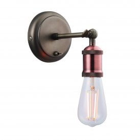 Hal Single Light Wall Fitting in Aged Pewter and Aged Copper Finish