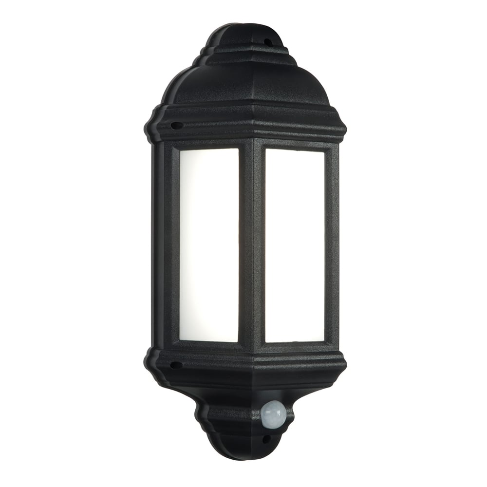 Endon Lighting Halbury Single LED Flush Outdoor PIR Wall Lantern In Matt Black Finish With ...