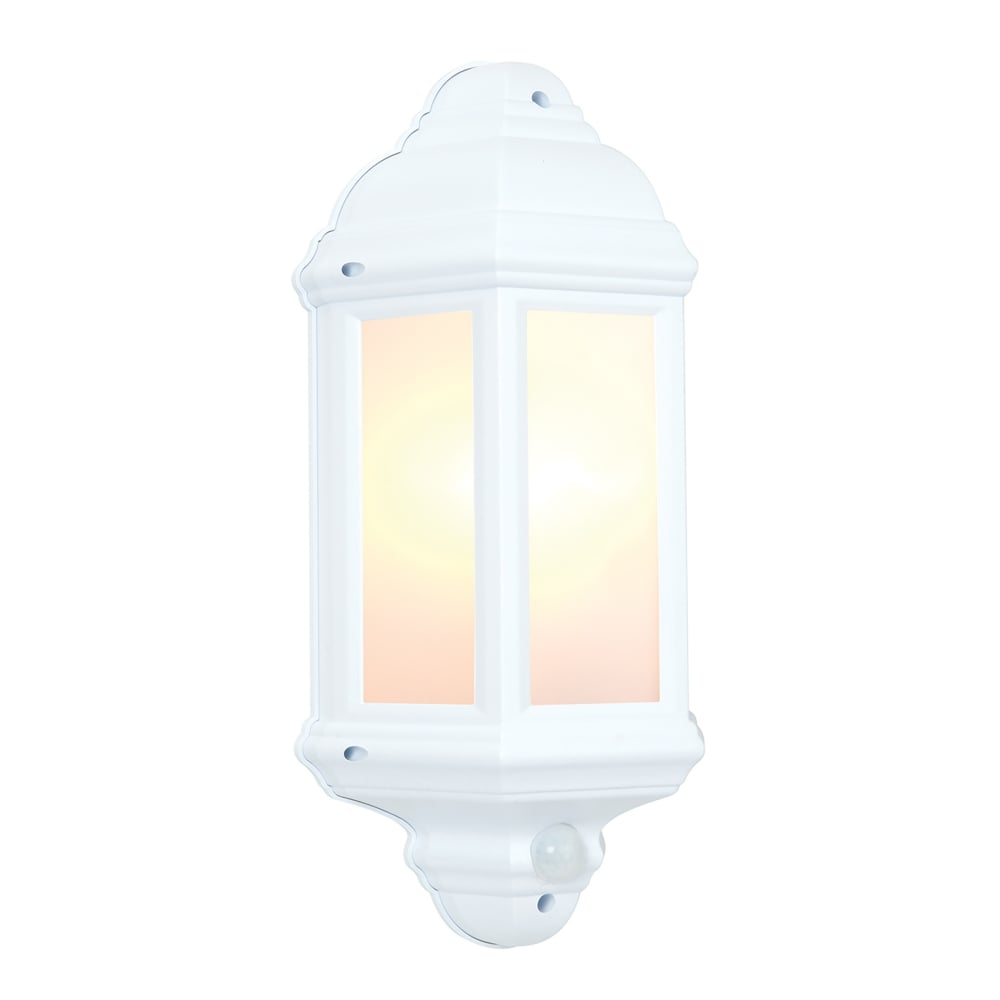 Endon Lighting Halbury Single Light Flush Outdoor Wall Lantern In Matt White Finish With Frosted ...