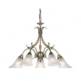 Hardwick 5 Light Ceiling Fitting In Antique Brass Finish