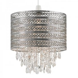 Harewood Ceiling Light Pendant Shade In Antique Chrome Finish With Clear Acrylic Beads