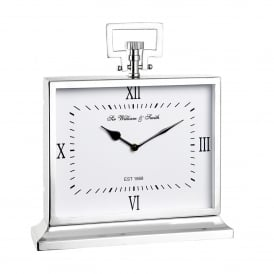 Havant Large Mantel Clock in Polished Nickel Plated Finish and Clear Glass