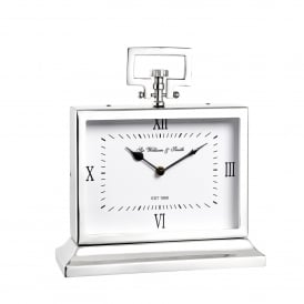 Havant Medium Mantel Clock in Polished Nickel Plated Finish and Clear Glass