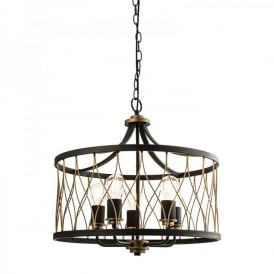 Heston 5 Light Ceiling Pendant In Matt Black Painted And Rustic Bronze Finish