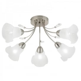 Holbrook 5 Light Ceiling Fitting In Satin Nickel Finish With Frosted Glass Shades