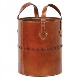 Holtby Waste Bin In Tan Leather Finish