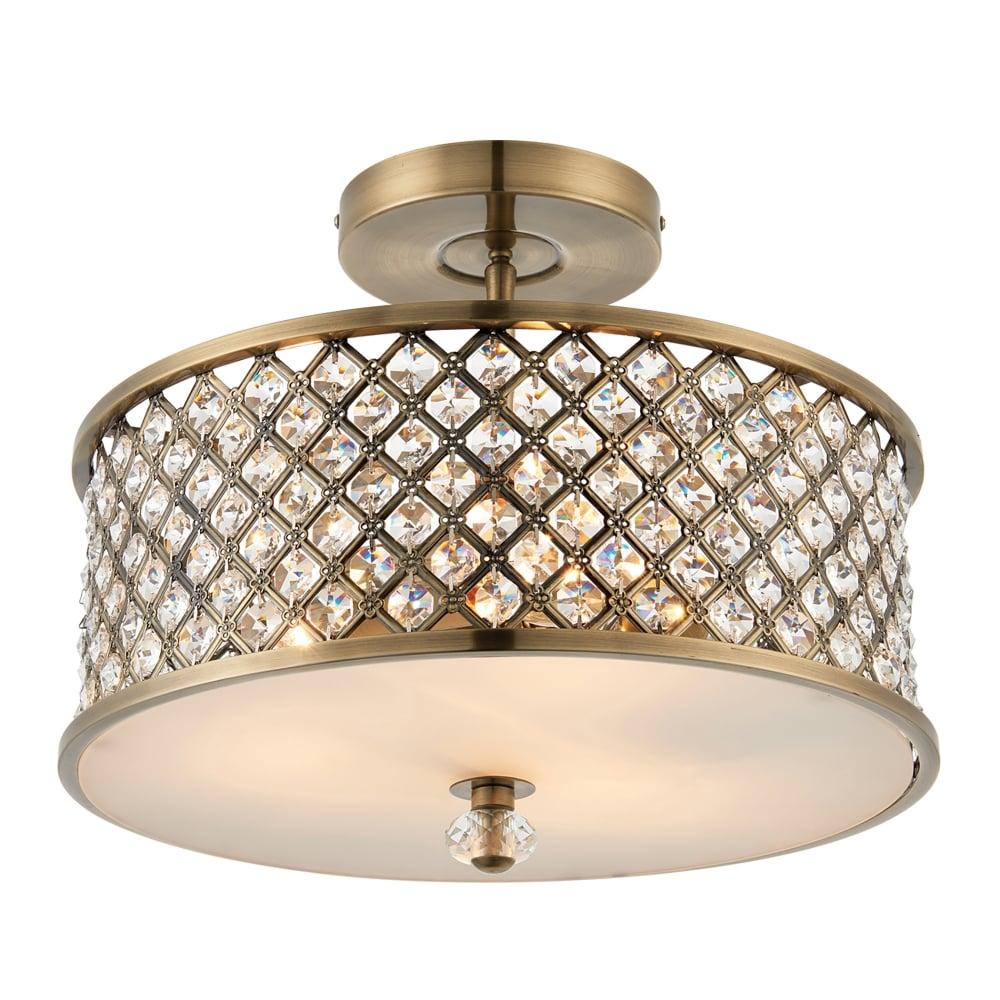 Endon Lighting Hudson 3 Light Semi Flush Ceiling Fitting In Antique Brass And