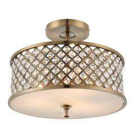 Hudson 3 Light Semi Flush Ceiling Fitting in Antique Brass and Crystal Glass