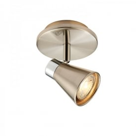 Hyde Single Light LED Ceiling Spotlight Fitting In Satin Nickel And Polished Chrome Finish